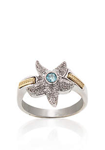 Sterling Silver with 14k Yellow Gold Blue Topaz Starfish Ring