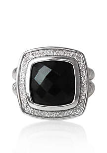 Sterling Silver Onyx Sparkle Ring