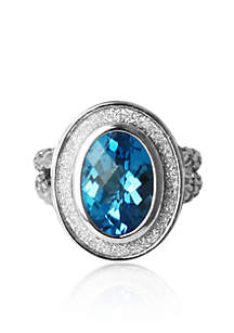 Sterling Silver Blue Topaz Sparkle Ring