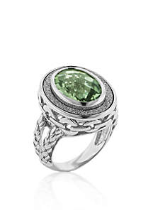 925 Sparkle Border Oval Mint Quartz Ring in Sterling Silver