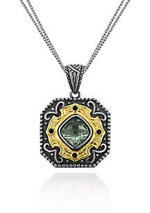 Sterling Silver with 14k Yellow Gold Green Amethyst Pendant