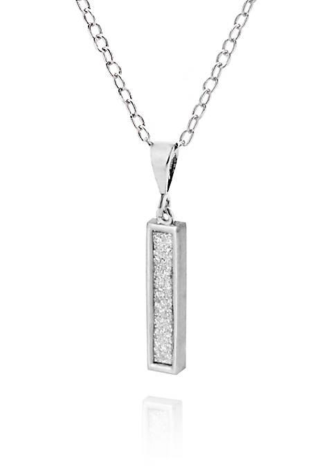 "Sterling Silver Glitter Initial ""I"" Pendant"