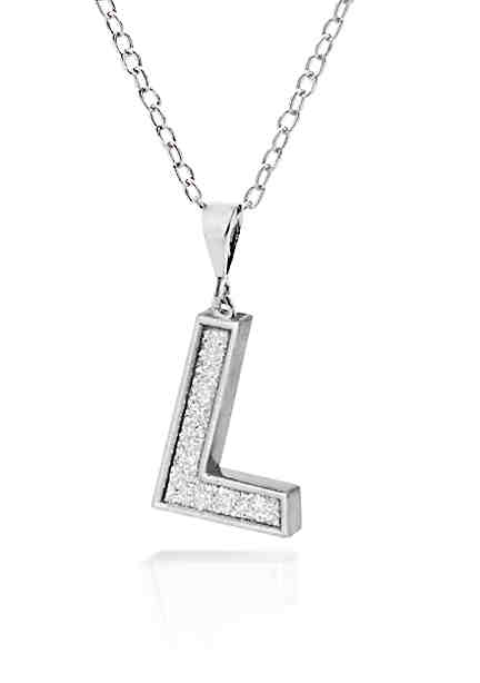 Personalized jewelry initial necklaces bracelets more belk sterling silver glitter initial l aloadofball Gallery