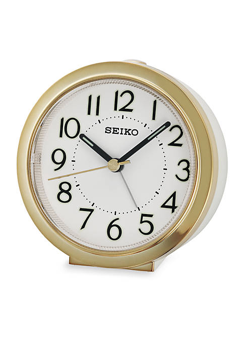 Seiko Bedside Alarm Clock with White Case and