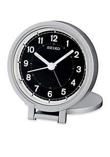 Silver-Tone Metallic Travel Alarm Clock