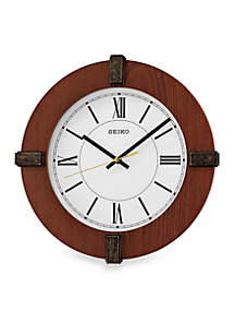 Brown Wooden Wall Clock with Bezel Ornaments