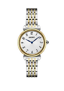 Seiko 2 Tone Essential Watch With Silver Pattern Dial Black Arabic Numbers