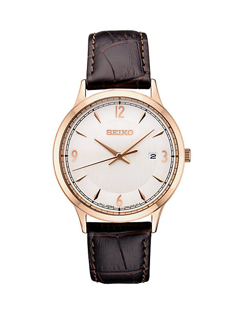Seiko Mens Essential Dress Watch with Silver Pattern