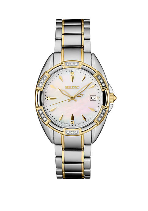Seiko Womens Silver Tone Diamond Bezel Watch with