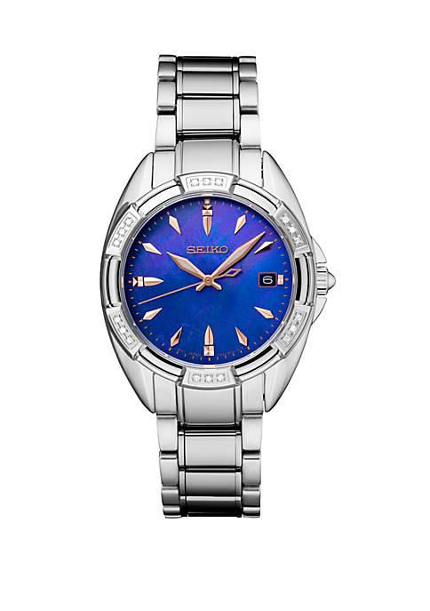 Seiko Womens Diamond Bezel Watch with Blue Mother