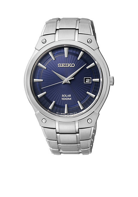 Seiko Mens 100 Meter Stainless Steel Solar Dress