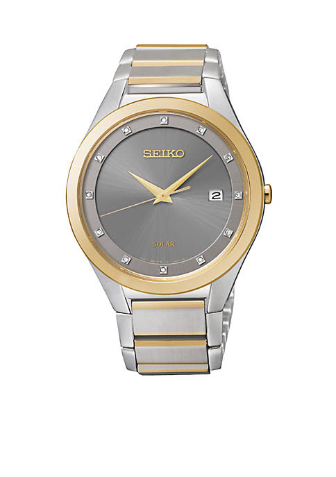 Seiko Mens Two-Tone Diamond Dial Watch