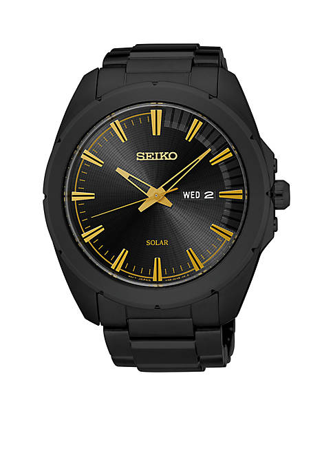 Seiko Mens Recraft Black Stainless Steel Watch