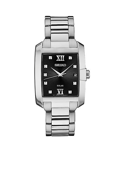 Mens Stainless Steel Diamond Solar Watch