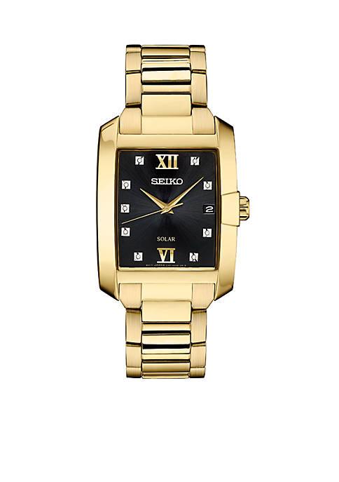 Mens Gold-Tone Diamond Solar Watch