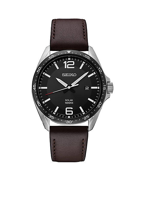 Seiko Mens Solar Stainless Steel Black Dial Watch