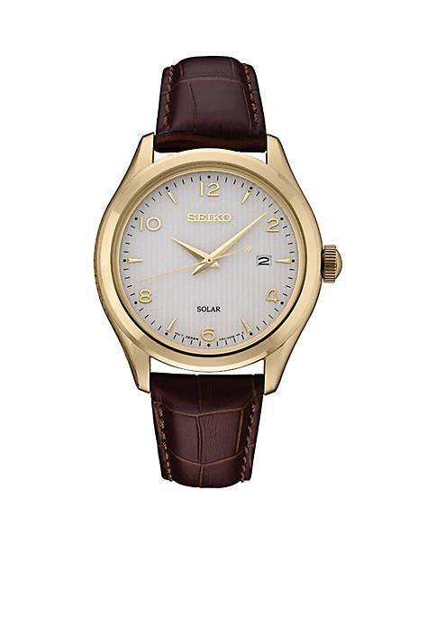 Seiko Mens Solar KGP White Dial Watch