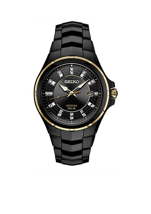 Seiko Mens Black Stainless Steel Coutura Diamond-Accent Bracelet