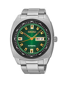 Men's Stainless Steel Silver-Tone Green Dial Automatic Watch