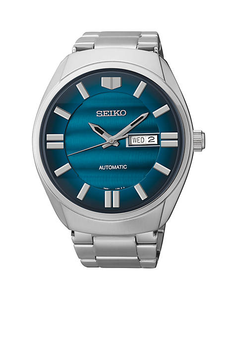 Mens Stainless Steel Silver-Tone Blue Dial Automatic Watch