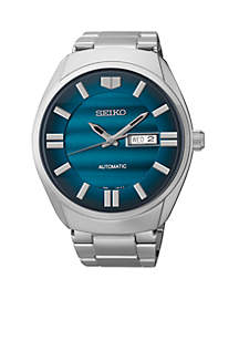 Men's Stainless Steel Silver-Tone Blue Dial Automatic Watch