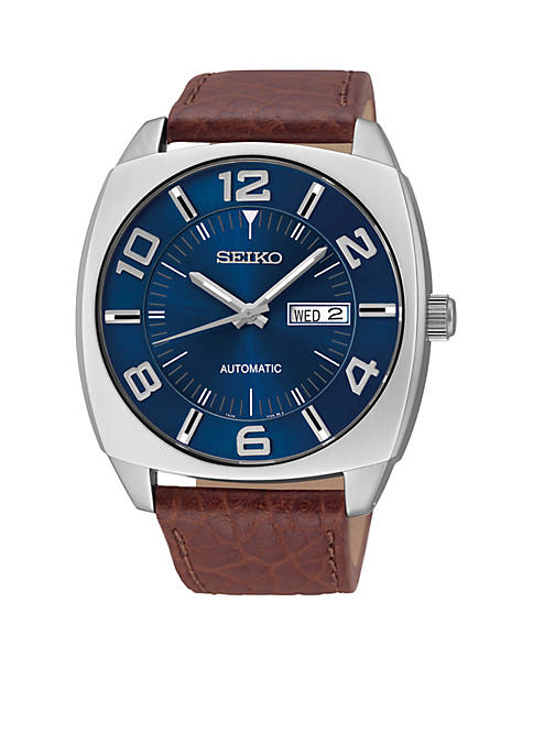 Seiko Mens Blue Dial Brown Leather Strap Automatic