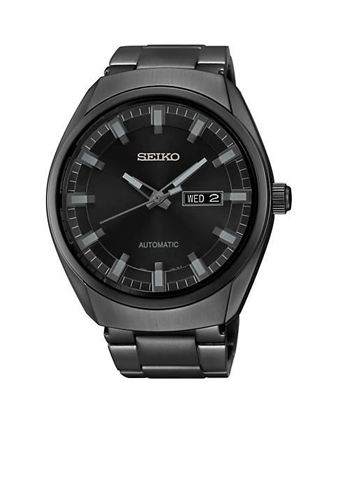 Mens Black Ion Finish Automatic Date Calendar Watch