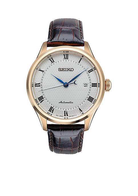Seiko Mens Rose Gold-Tone Stainless Steel Automatic PGP