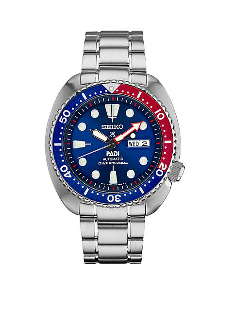 Mens Prospex Diver Silver-Tone with Blue Bezel Watch