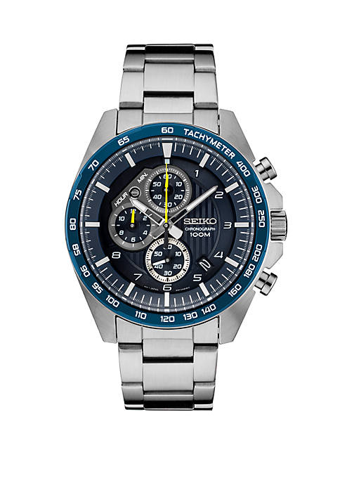 Seiko Mens Essential Chronograph with Blue Dial and