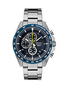 Seiko Men's Essential Chronograph with Blue Dial and Yellow Accents