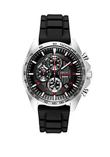 Seiko Men's Essential Chronograph with Black Dial and Red Accents