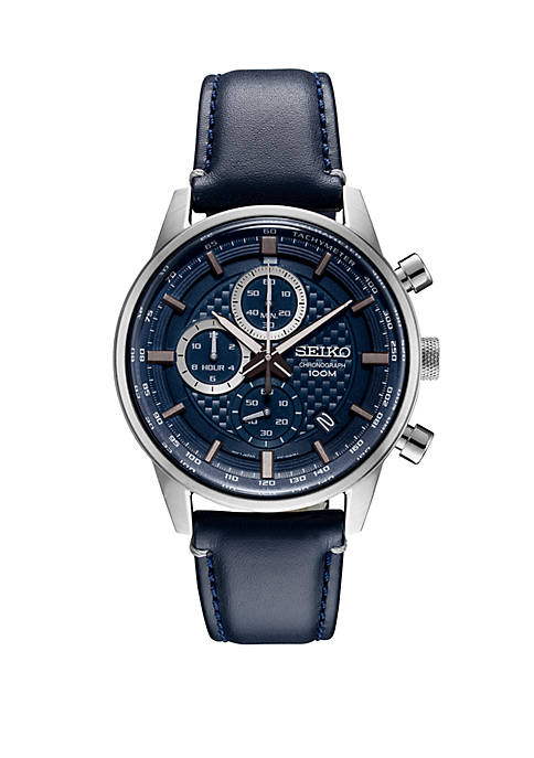 Seiko Stainless Steel Chronograph Watch With Blue Pattern