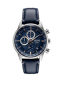 Seiko Stainless Steel Chronograph Watch With Blue Pattern Dial And Silver Accents