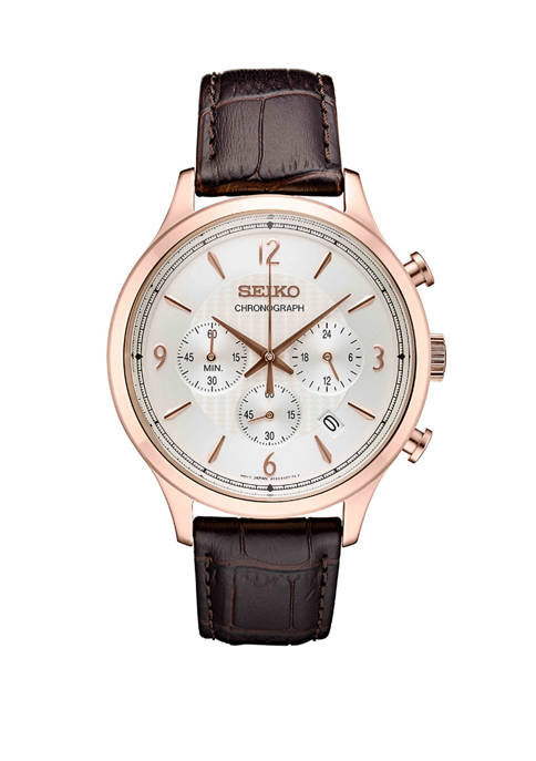 Seiko Mens Stainless Steel Japanese Quartz Leather Calfskin