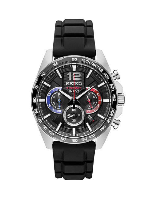 Seiko Mens Essentials Chronograph Black Silicone Strap Watch