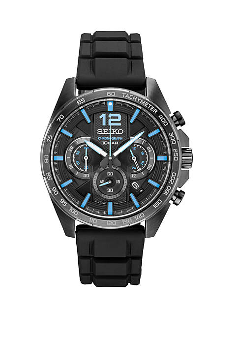 Seiko Mens Black Ion Finish Chronograph with Black
