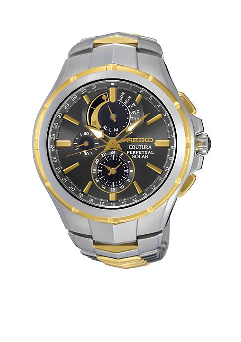 Seiko Mens Coutura Solar Perpetual Chronograph Watch