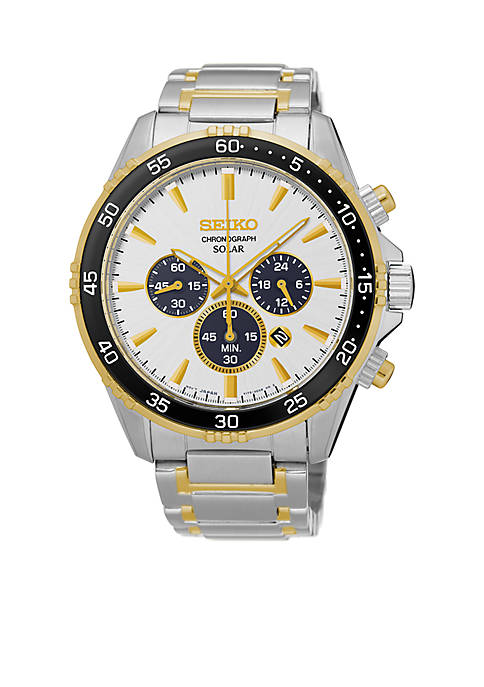 Seiko Mens Chronograph Titanium White Dial Watch