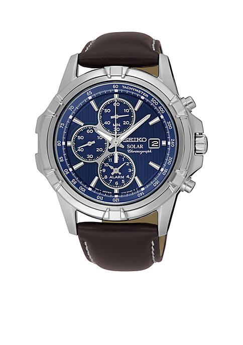 Seiko Mens Chronograph Blue Dial Leather Band Watch
