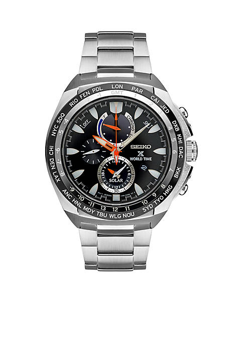 Seiko Mens Prospex World Time Solar Chronograph Watch