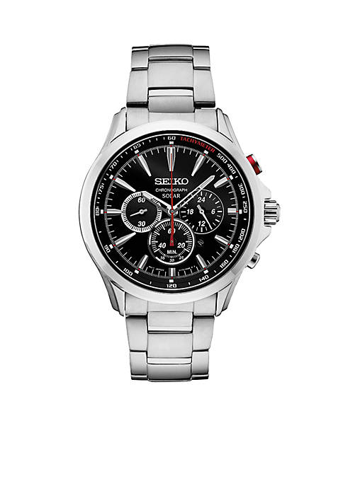 Mens Stainless Steel Solar Chronograph Watch