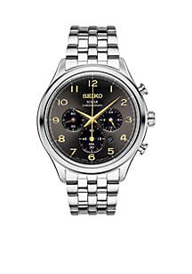 Men's Stainless Steel Solar Chronograph Gray Dial Watch