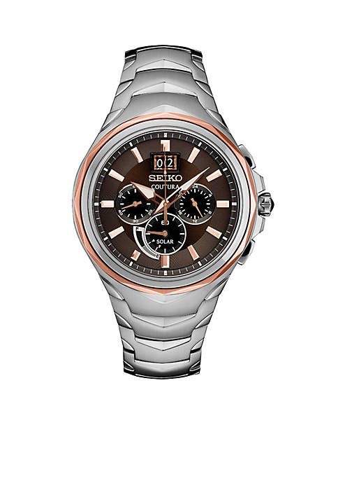 Seiko Mens Stainless Steel Coutura Solar Chronograph Watch
