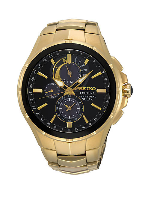 Seiko Gold Perpetual Solar Coutura Chronograph Watch With