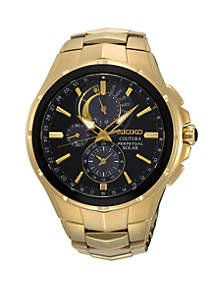 Seiko Gold Perpetual Solar Coutura Chronograph Watch With Black Dial