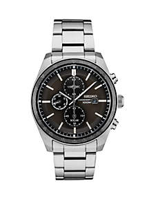 Seiko Stainless Steel Solar Chronograph Watch With Gray Dial
