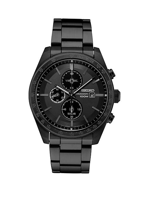 Solar Chronograph Watch With Black Dial