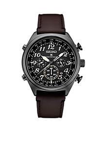 Seiko Men's Stainless Steel Black IP Prospex Radio Sync Solar Chronograph Watch