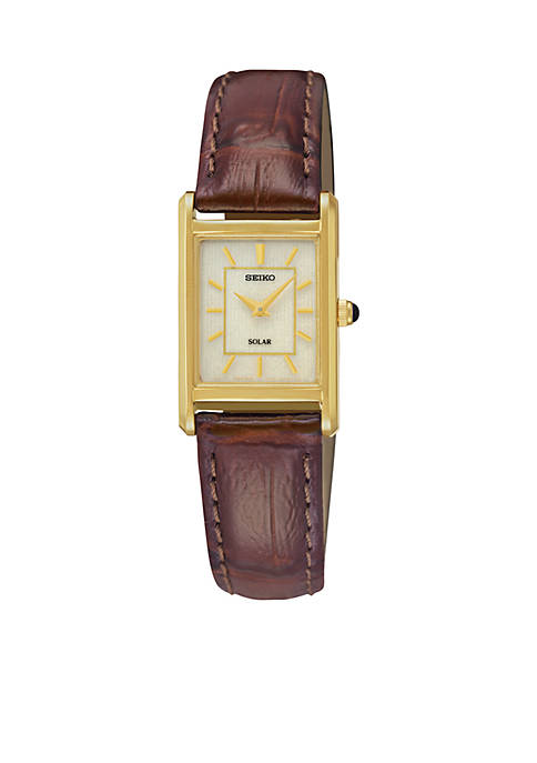 Seiko Womens Leather Gold-Tone Champagne Dial Solar Watch